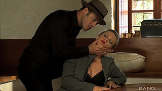 Blonde with red lipstick Colette forced to fuck at gun point