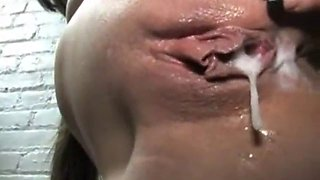 Interracial creampie on gloryhole