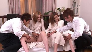 Steamy foursome action with two Gorgeous girls sucking and fucking