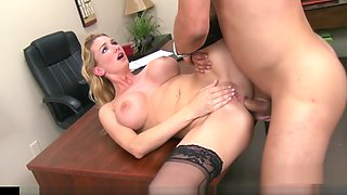 Busty boss fulfills her workers dreams