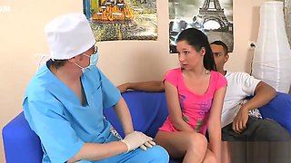 Physician assists with hymen physical and defloration of virgin teen
