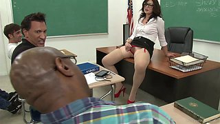 Horny Teacher In Glasses Is Gangbanged by her Students in Class