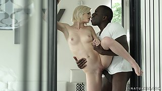 Perfect blonde goes black and his BBC fucks her pussy