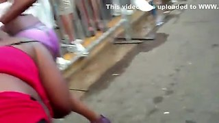 Drunk girl shows pussy in the parade