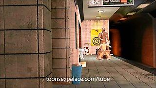 3D anime Subway gangbang