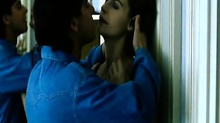 Anna Galiena first having sex with a guy in bed, then we