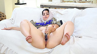 Amateur quite flexible and big racked nympho uses a sex toy for her twat