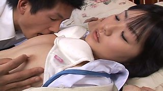 Kinky shy Japanese brunette lets man tease her tits and pussy on bunk bed