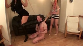 Couple Mistress hurting man slave
