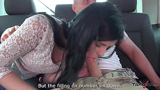 Dark haired babe Alice gets a hardcore doggy style fuck in a car