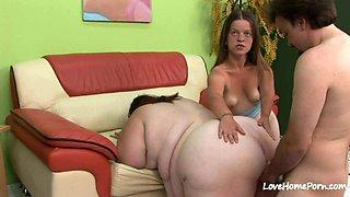 Horny big woman sharing a hard cock