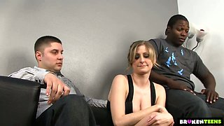 Whore wife Lya Pink gets her cunt blacked in front of her cuckold husband