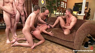 Hot wife gets gangbang right in her living room