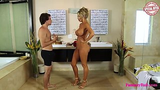 naked masseur give dude a shower