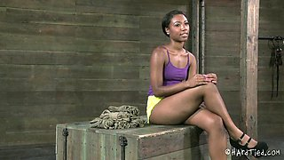 One of the prettiest chocolate girls in now in the bondage session