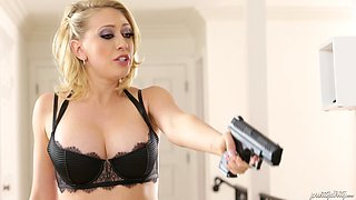 Beauty Kagney Linn Karter choked and banged by a burglar Mick Blue