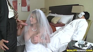Slut with big tits gets fucked in wedding dress