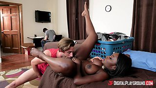 Sexy black chick cheats on her boyfriend in the same room