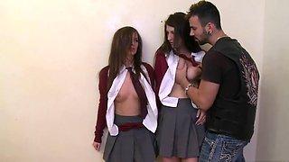 Rough Guy Fucks Two Schoolgirls