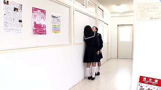 Slutty Japanese schoolgirls work their lips on mystery dicks
