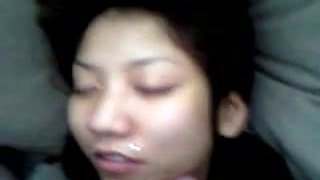 POV video of my Thai GF getting a cum facial