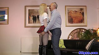 Classy euro schoolgirl riding old mans cock