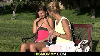 Naughty granny toying her son\'s GF