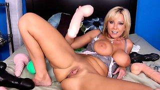 Big boob blonde Anette Dawn loves having a solo masturbation
