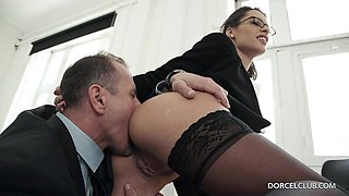 Hot secretary in sexy  stockings gets plowed from behind