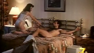 Busty and sizzling hot classic brunette milf in the bedroom