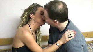 Very thin bony blonde sweety gets nailed by hairy dude