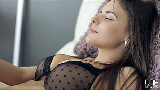 Elegant and romantic brunette beauty in black stuff gets pussy poked