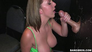 Shapely cowgirl with big tits yells while her shaved pussy is screwed