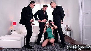Brunette pornstar foursome and cum in mouth