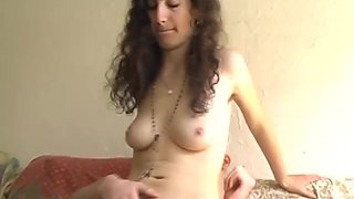 Horny brunette gets her wish and finds a stud to penetrate her extremely hairy pussy
