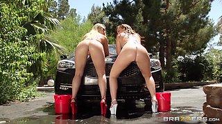 Naughty Girls Washing The Car