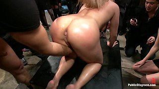 Flexible Blonde Gets Bound And Fucked For The Crowd - PublicDisgrace