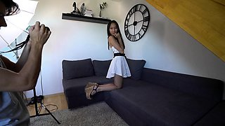 Cute Korean girl with tiny tits gets pounded hard in casting
