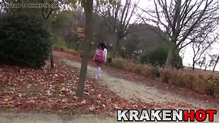 Krakenhot - Schoolgirl Outdoor. Voyeur at the park