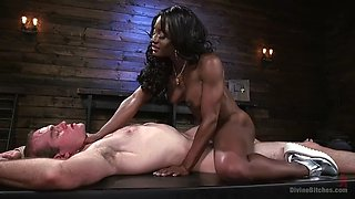 black amazon mistress kelli provocateur shows dominance by facesitting white slave