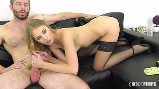 Blonde babe Chloe Scott offers her body to a nasty lover