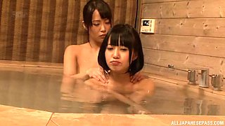 miho tsuno takes a bath with her friend and goes full lesbian