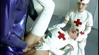 Sexy latex nurses fuck horny dude in latex bodysuit