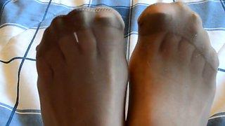 Rubbing legs in panties and rt pantyhose