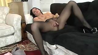 Seamless black pantyhose masturbation