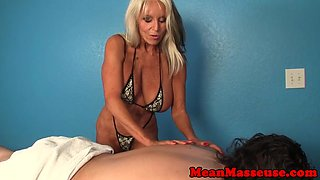 Bigtitted masseuse dominated client with hj