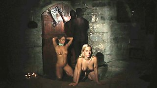 Blonde slavegirls walked in leash for dungeon for exploit