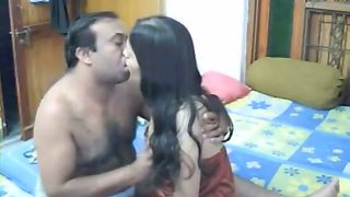 Petite bodied Indian girl sucks hard dick of old daddy