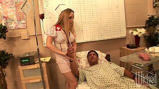 Crazy nurse Aiden Starr gives good blowjob to patient