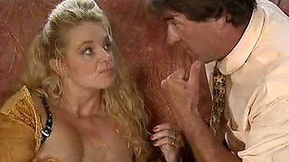 Fine and lascivious classic milf blondie eats dick on the couch